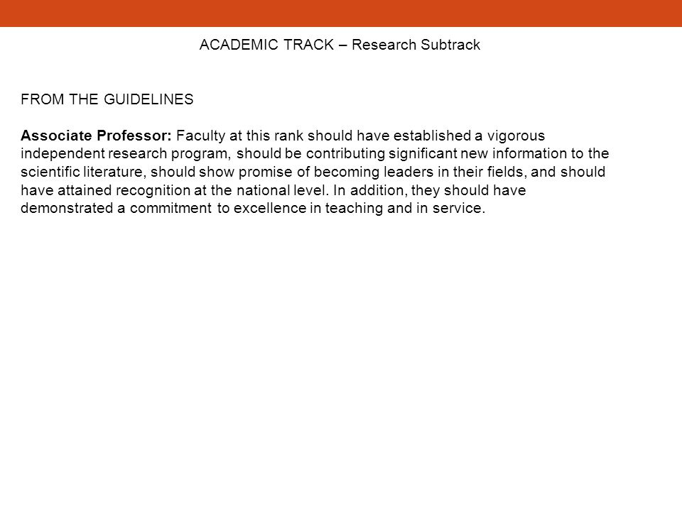 ACADEMIC TRACK – Research Subtrack