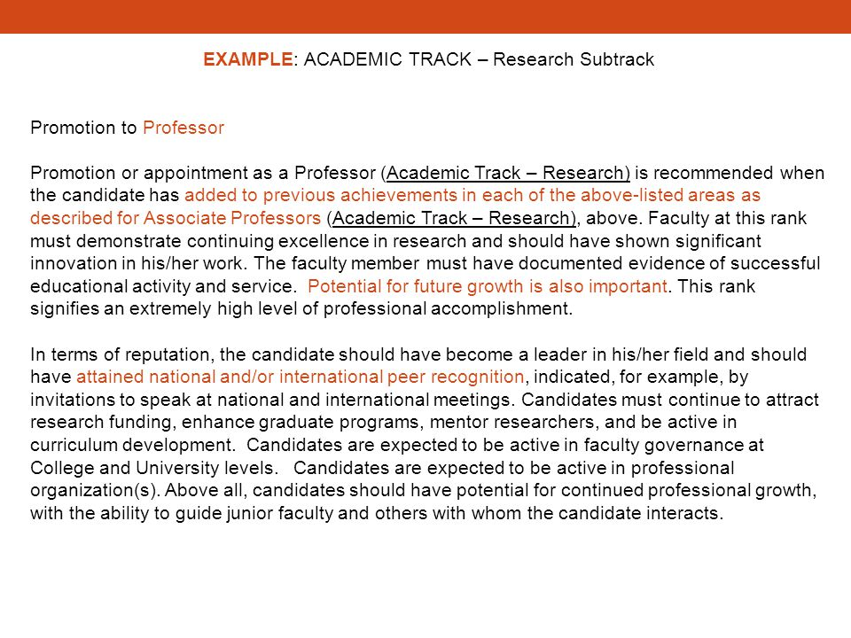 EXAMPLE: ACADEMIC TRACK – Research Subtrack