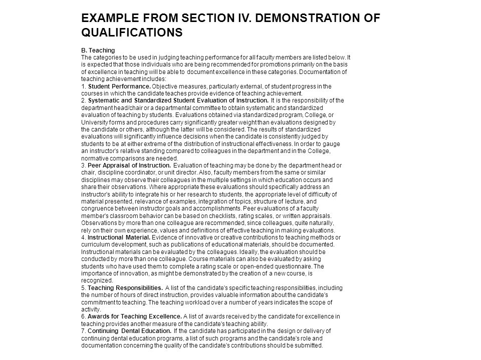 EXAMPLE FROM SECTION IV. DEMONSTRATION OF QUALIFICATIONS