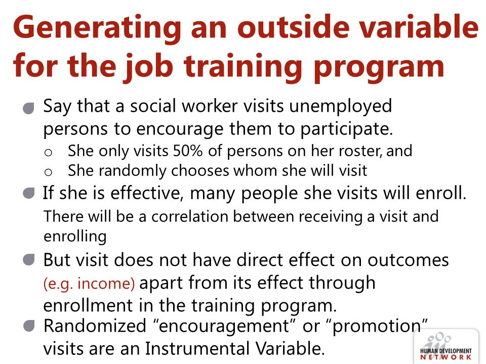 Generating an outside variable for the job training program