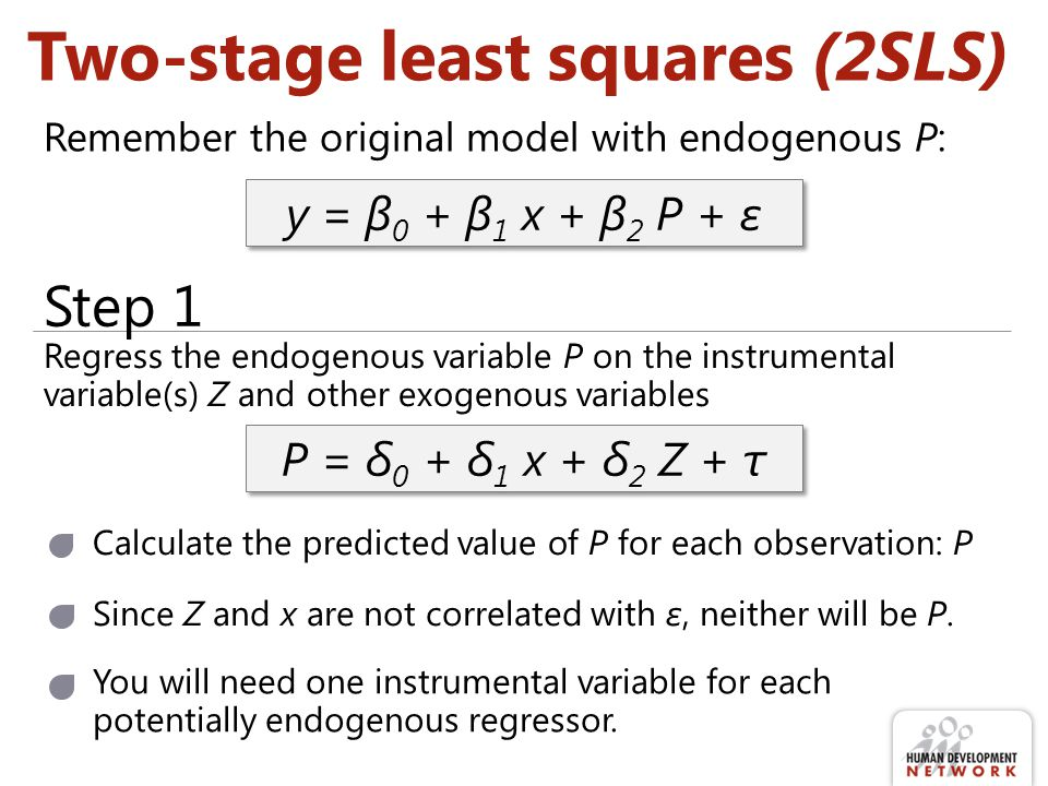 Two-stage least squares (2SLS)