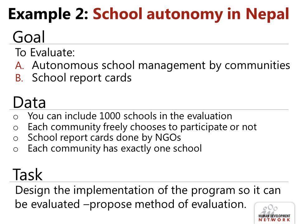 Example 2: School autonomy in Nepal