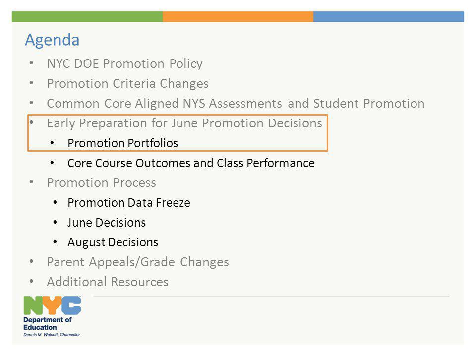 Promotion Portfolios Portfolio Components