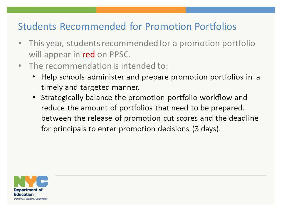 Students Recommended for Promotion Portfolios