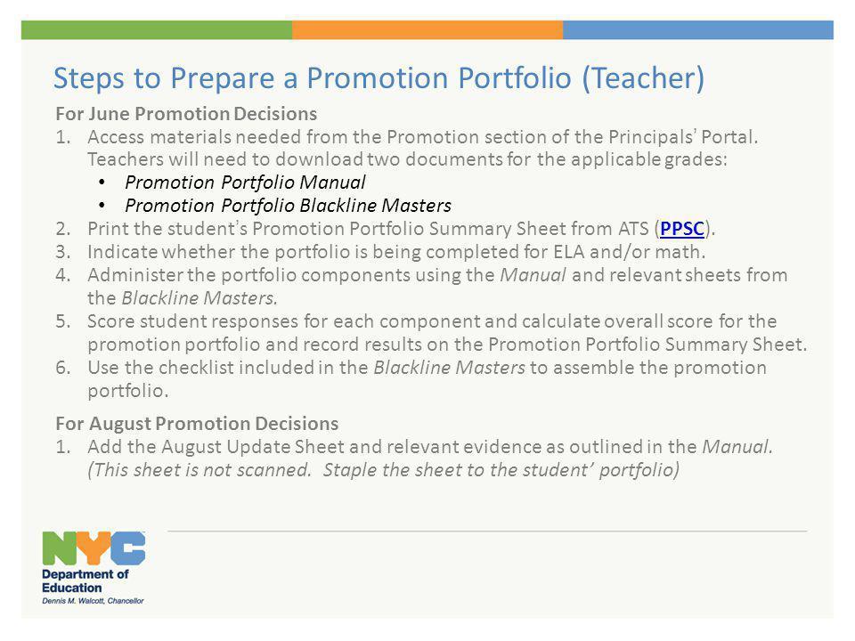 Steps to Prepare a Promotion Portfolio (Principal)