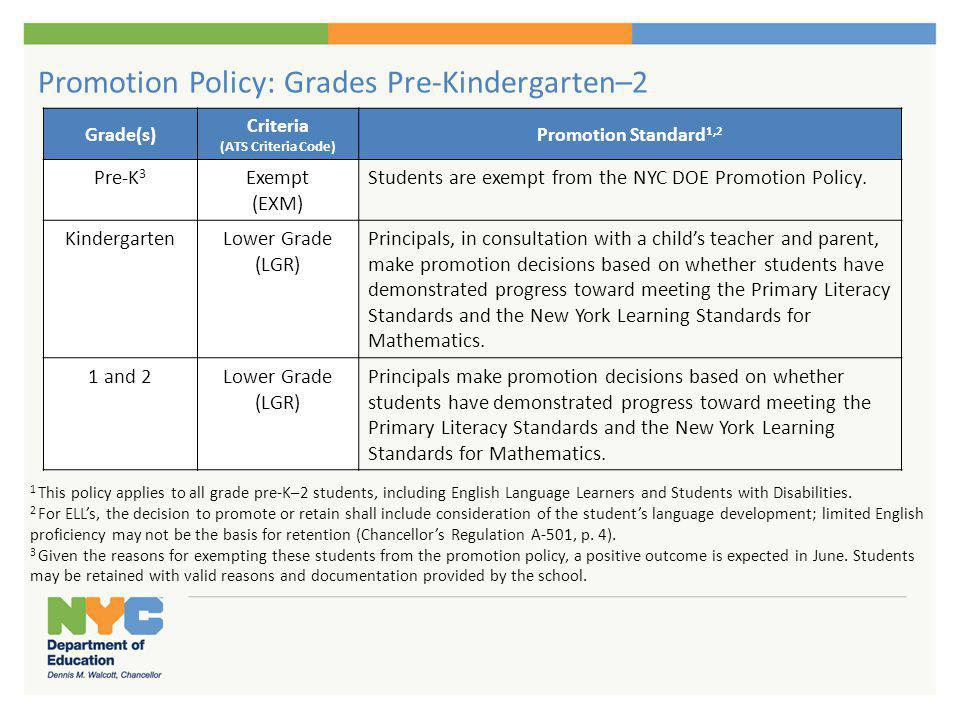 Promotion Policy: Grades 3-8