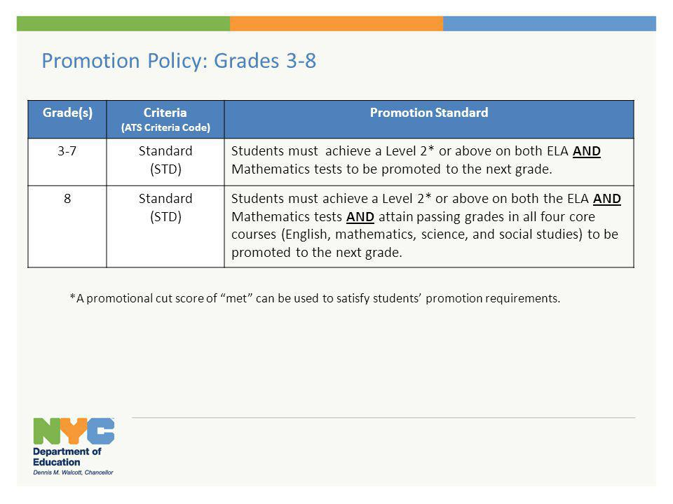 Promotion Policy: English Language Learners