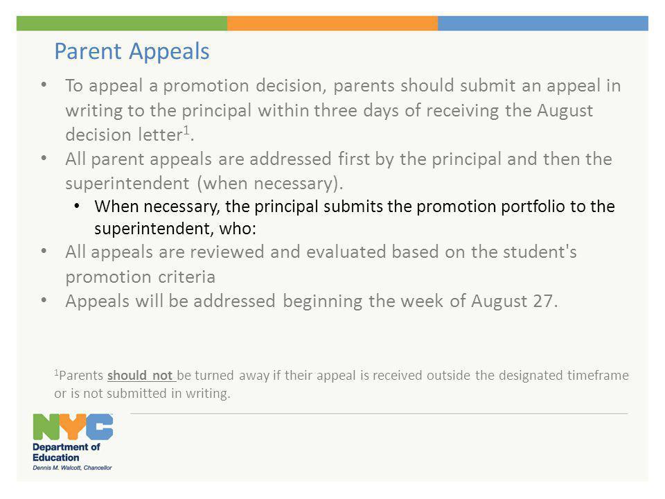 Parent Appeals/Grade Level Changes