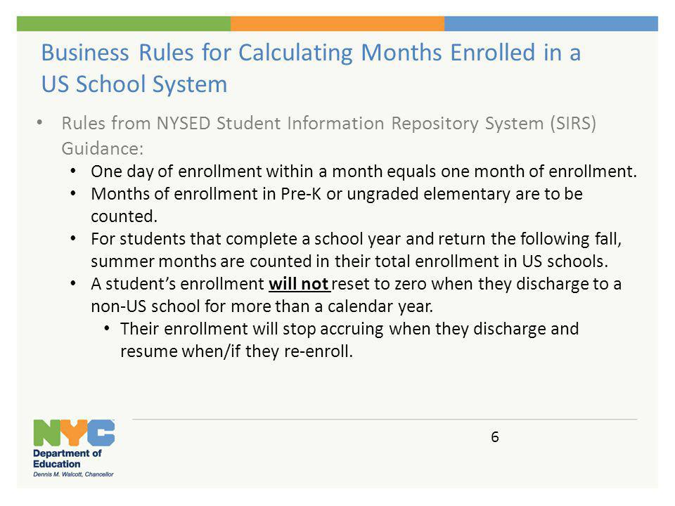 ATS Calculates months of enrollment in NYC DOE.