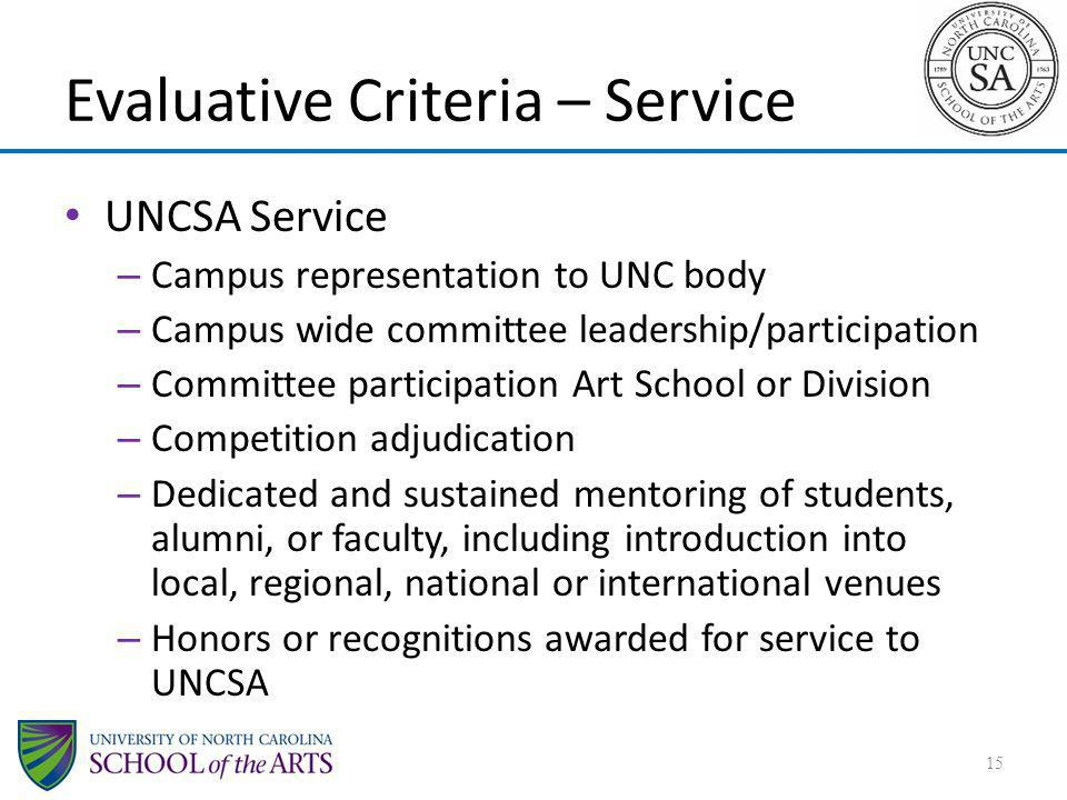 Evaluative Criteria – Service
