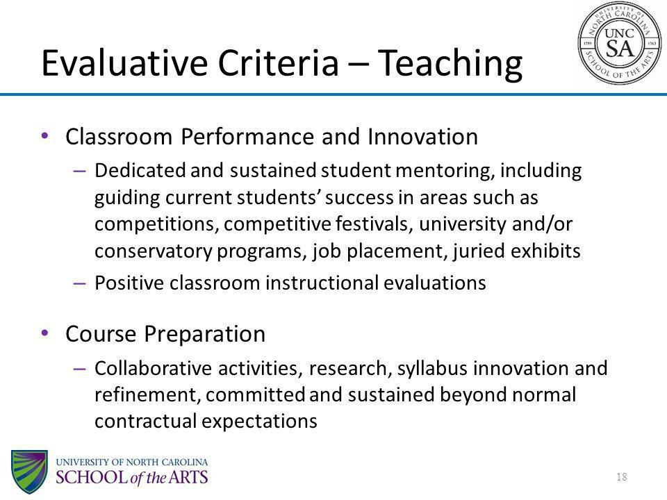 Evaluative Criteria – Teaching
