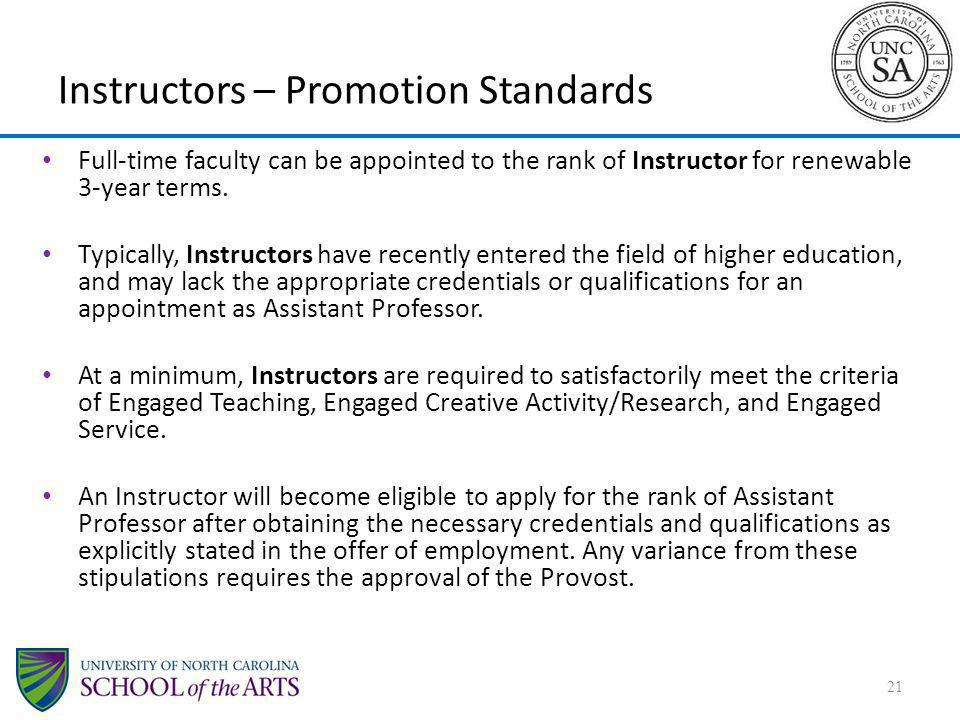 Instructors – Promotion Standards