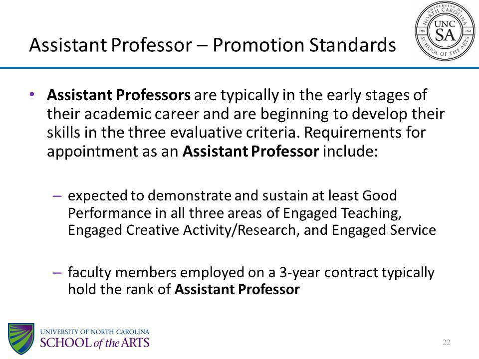 Assistant Professor – Promotion Standards