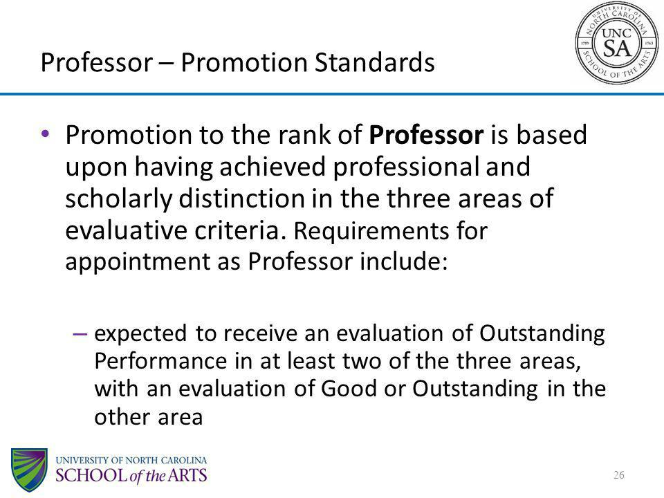 Professor – Promotion Standards