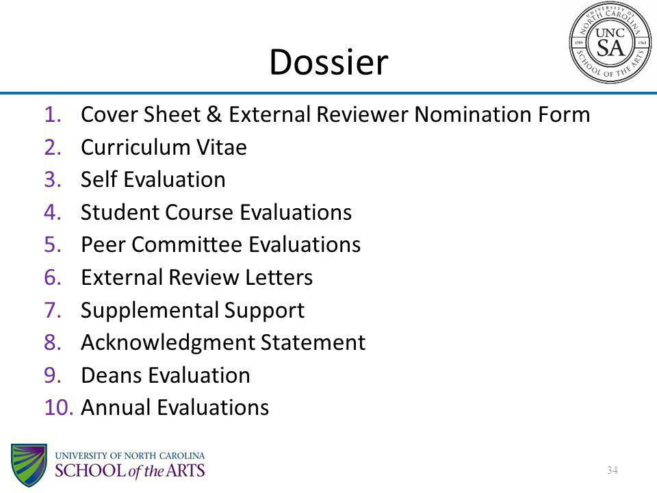 Dossier Cover Sheet & External Reviewer Nomination Form