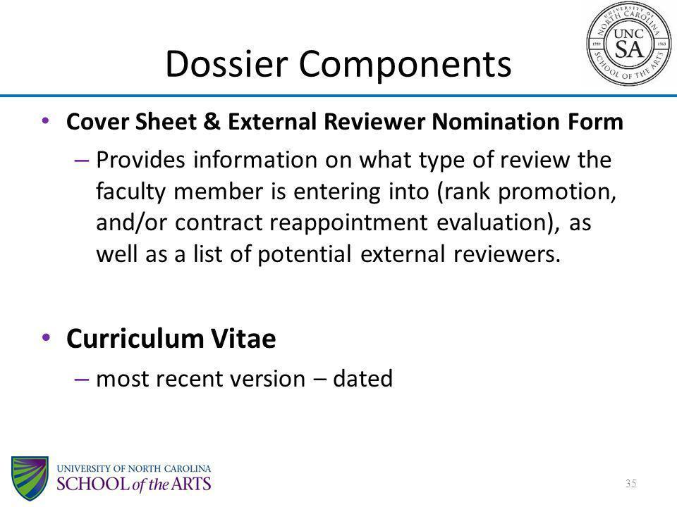 Dossier Components Curriculum Vitae
