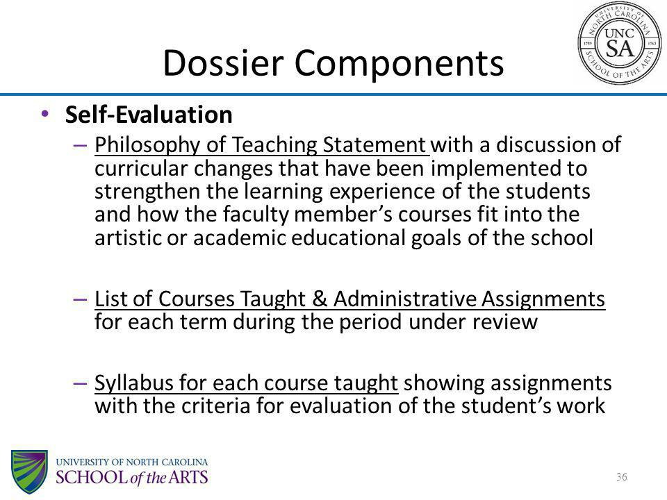 Dossier Components Self-Evaluation