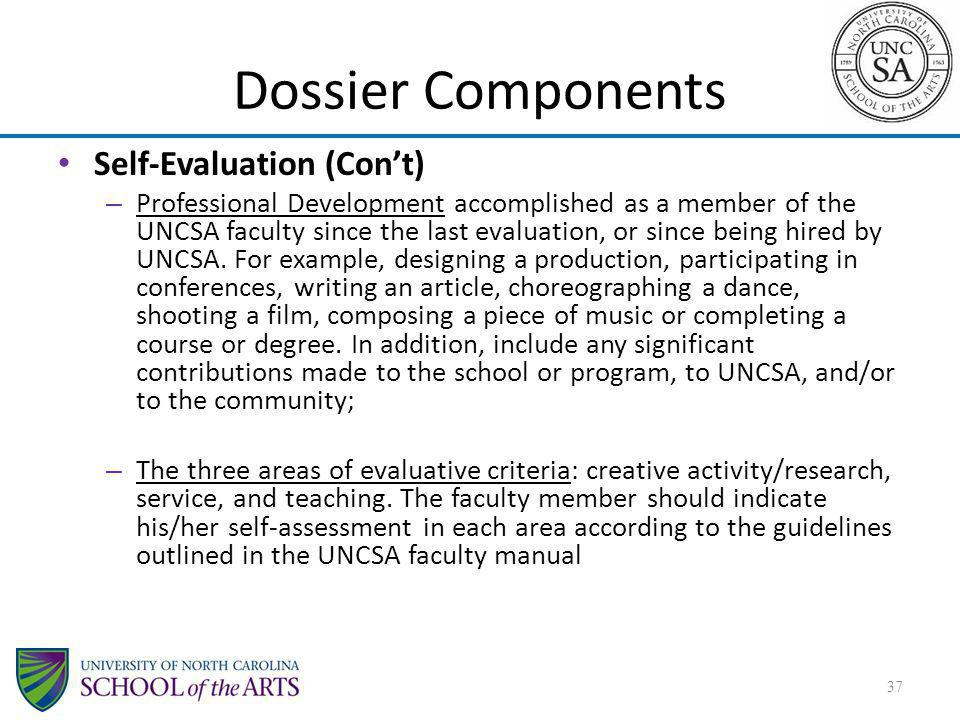 Dossier Components Self-Evaluation (Con't)
