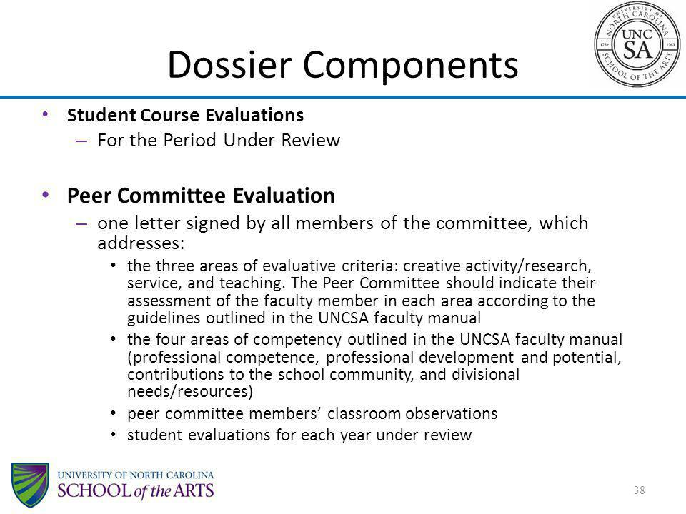 Dossier Components Peer Committee Evaluation