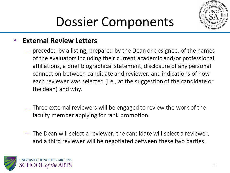 Dossier Components External Review Letters