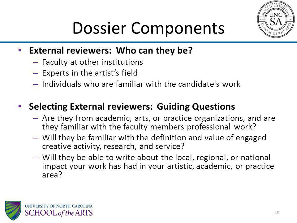 Dossier Components External reviewers: Who can they be