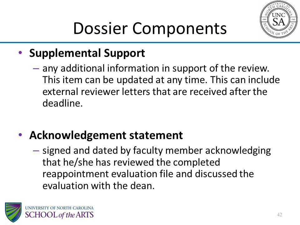Dossier Components Supplemental Support Acknowledgement statement