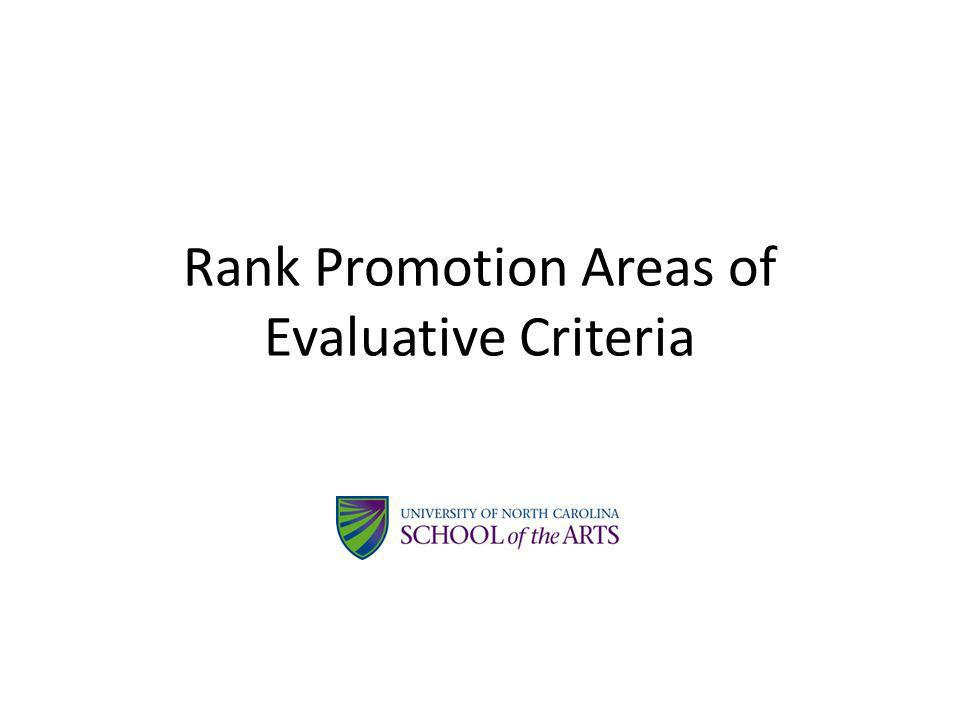 Rank Promotion Areas of Evaluative Criteria