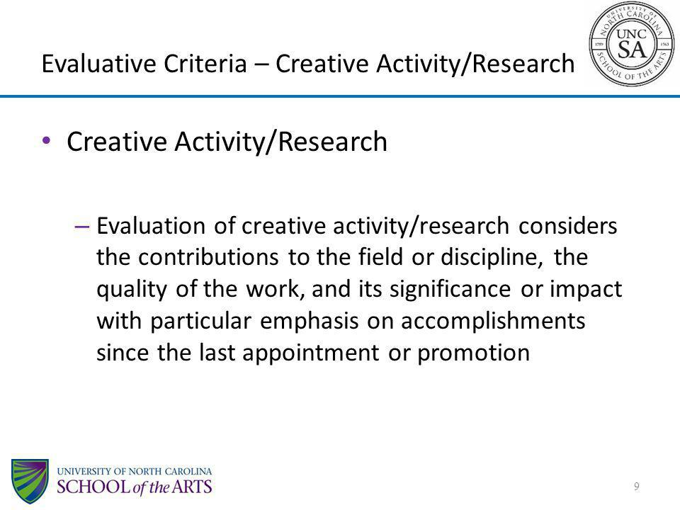Evaluative Criteria – Creative Activity/Research
