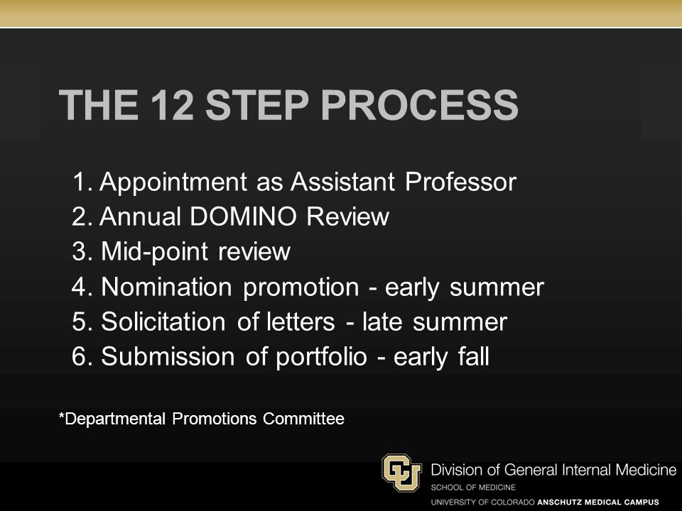 THE 12 STEP PROCESS 1. Appointment as Assistant Professor