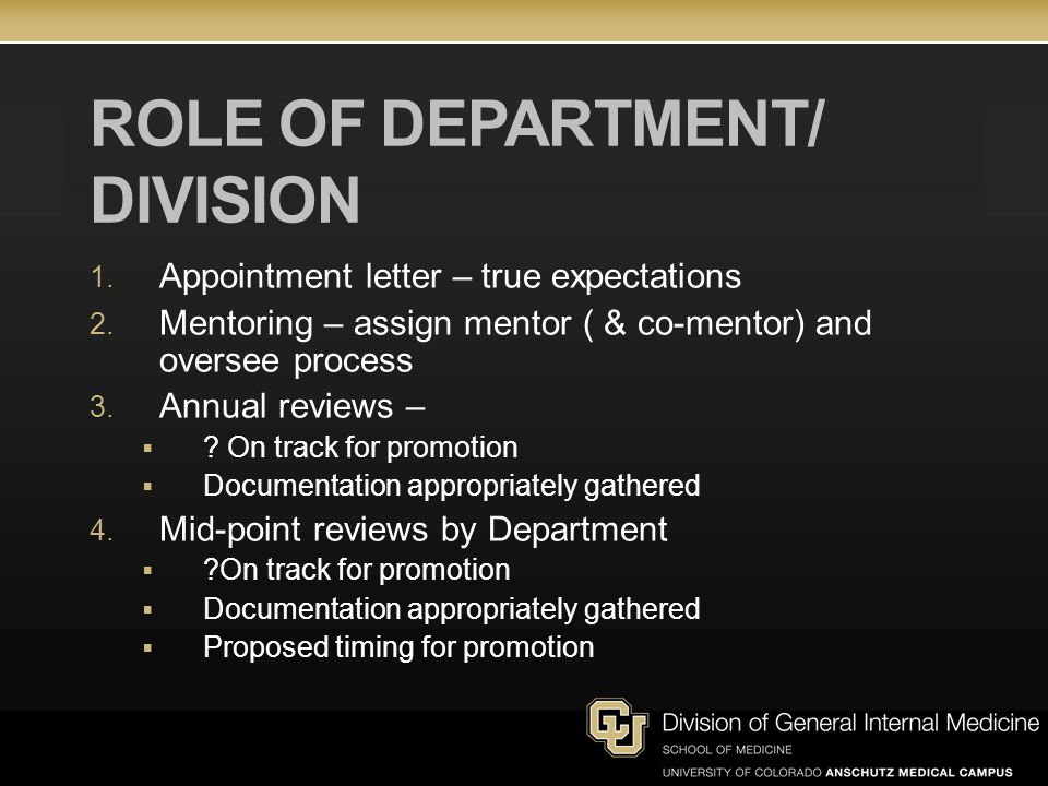 ROLE OF DEPARTMENT/ division