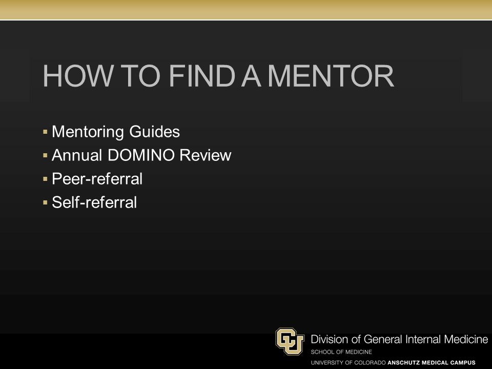 How to find a mentor Mentoring Guides Annual DOMINO Review