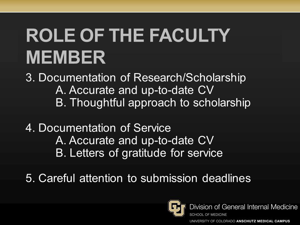 ROLE OF THE FACULTY MEMBER