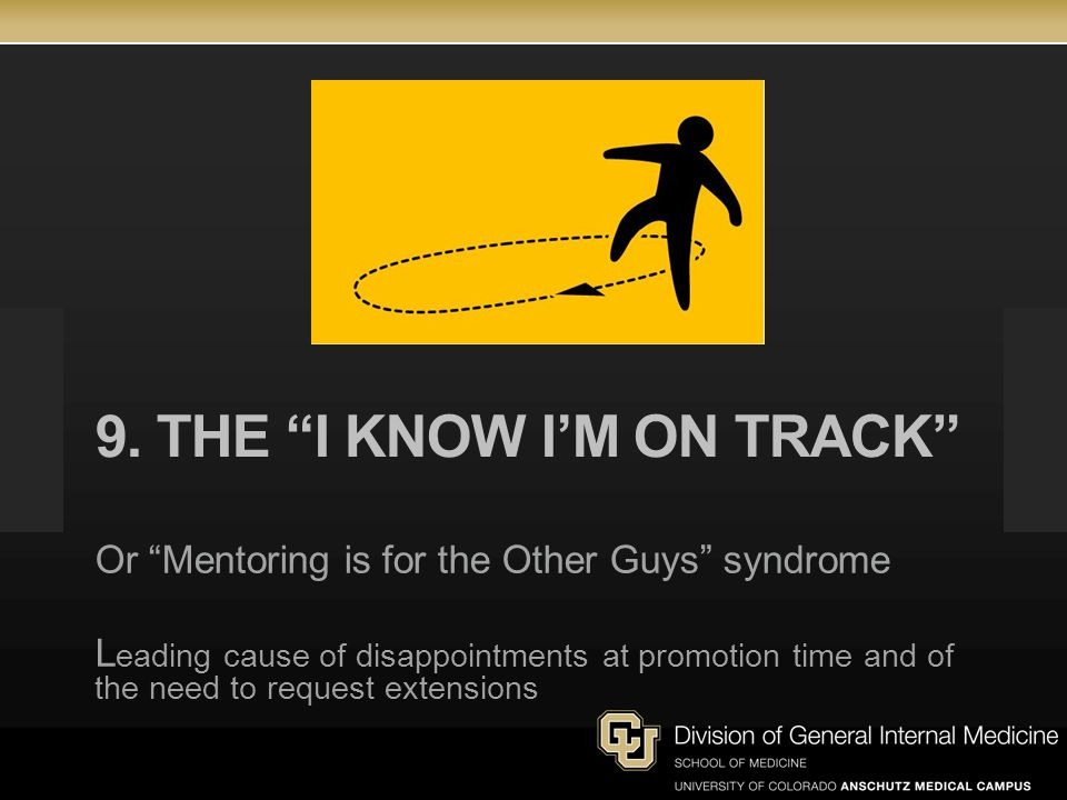 9. The I know I'm on track