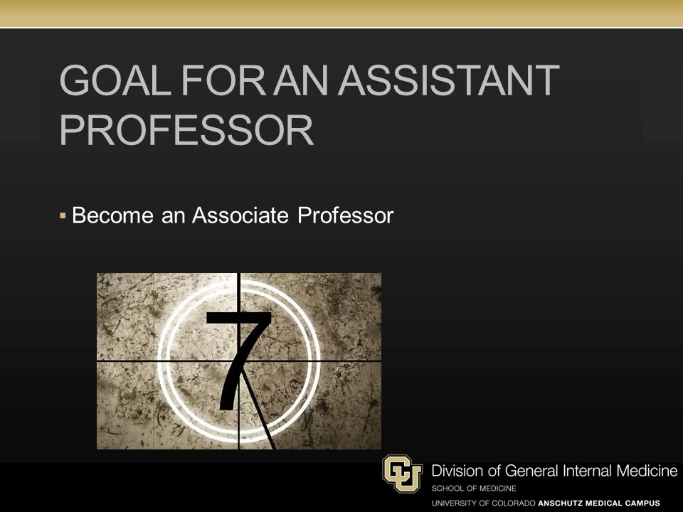 Goal for an Assistant Professor