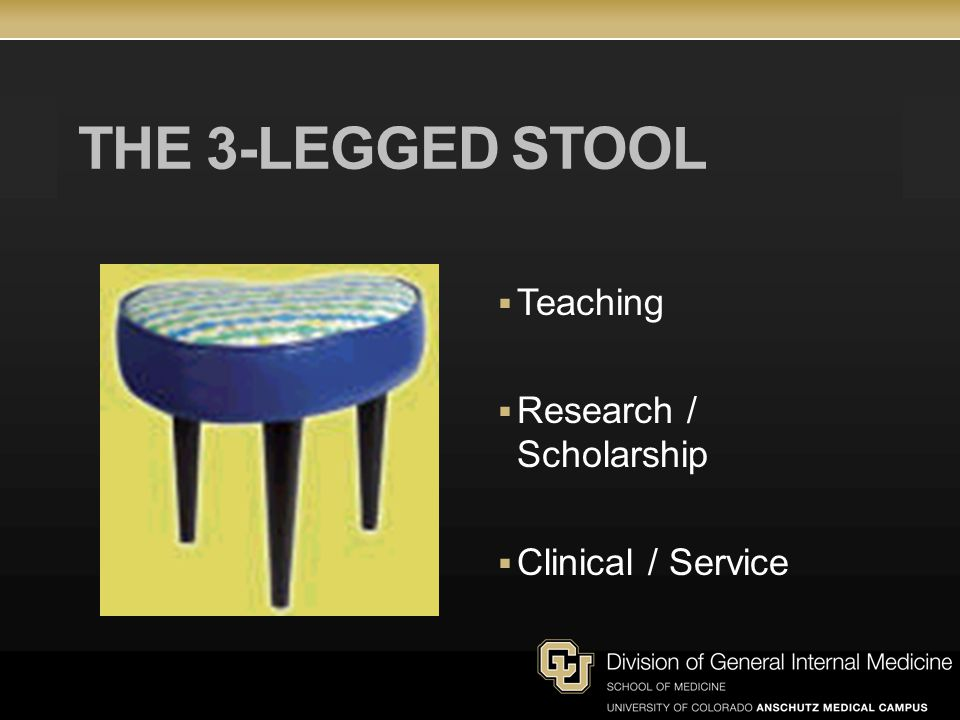 THE 3-LEGGED STOOL Teaching Research / Scholarship Clinical / Service