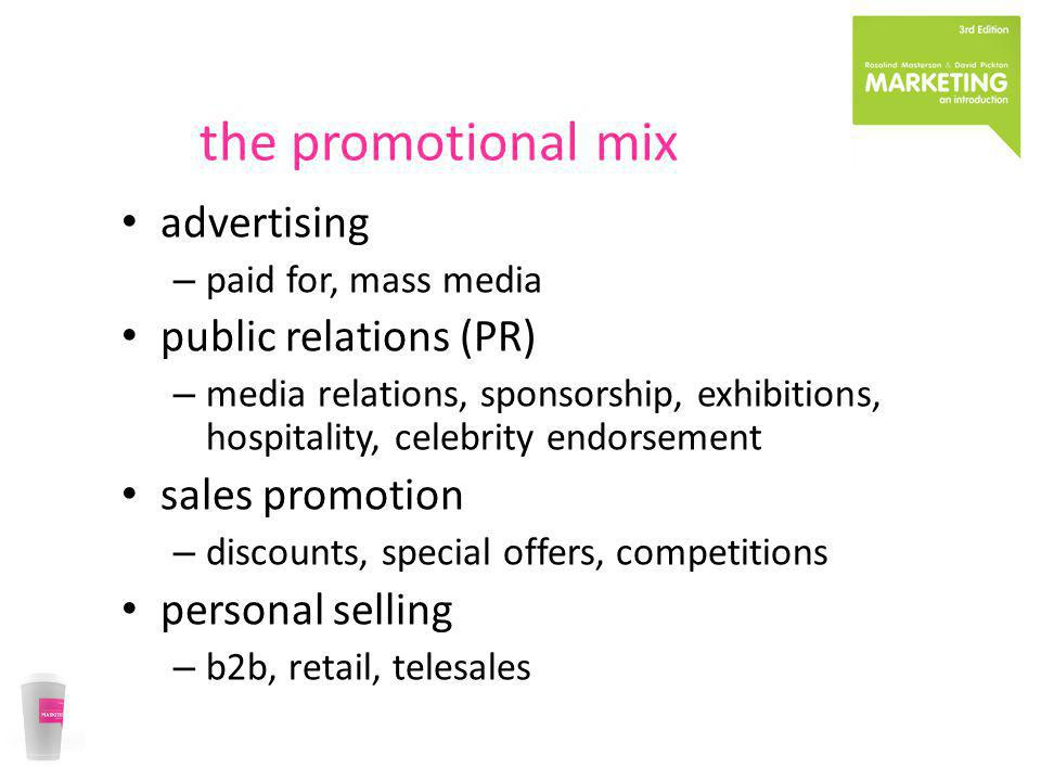 the promotional mix advertising public relations (PR) sales promotion