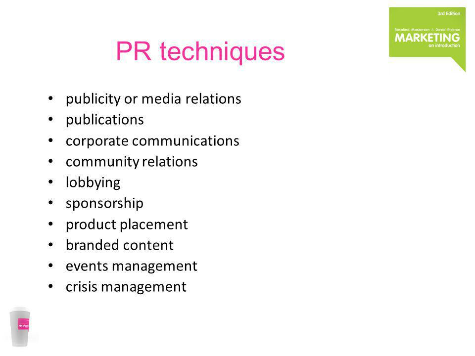 PR techniques publicity or media relations publications