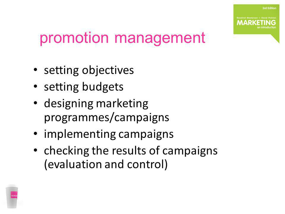 promotion management setting objectives setting budgets
