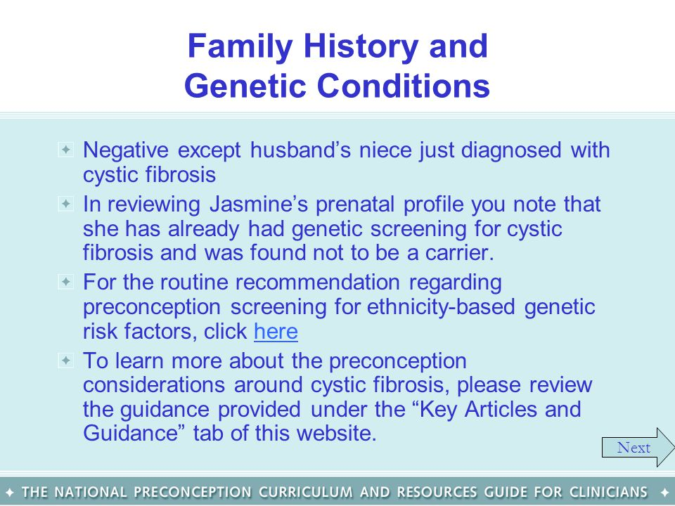 Family History and Genetic Conditions