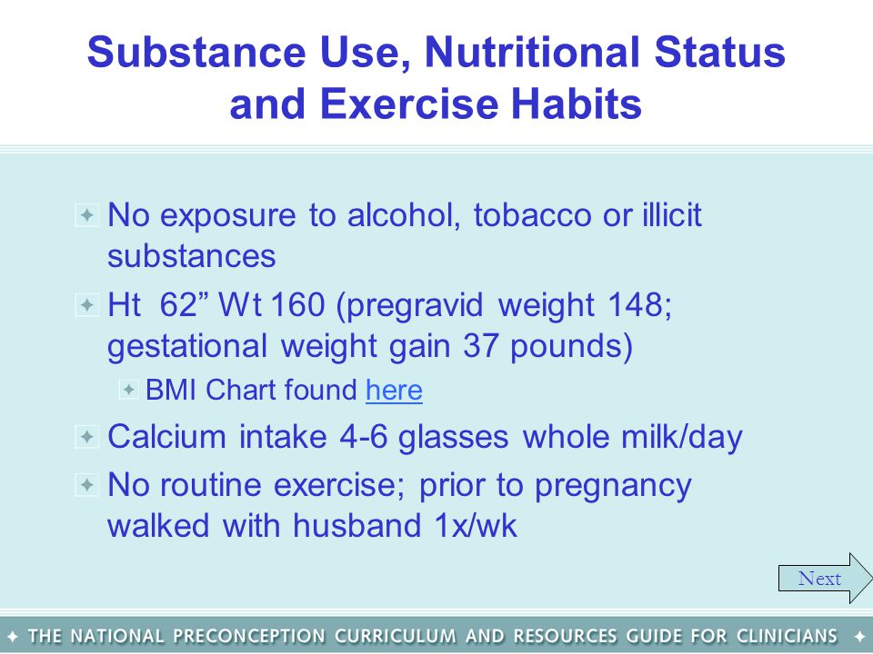 Substance Use, Nutritional Status and Exercise Habits