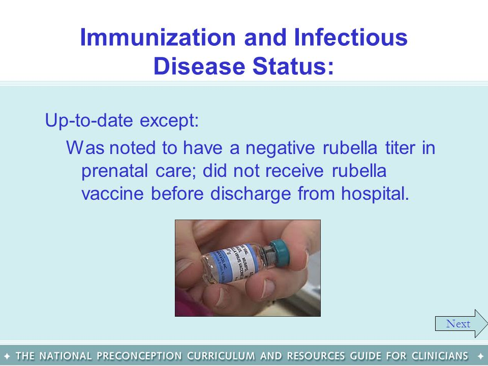 Immunization and Infectious Disease Status: