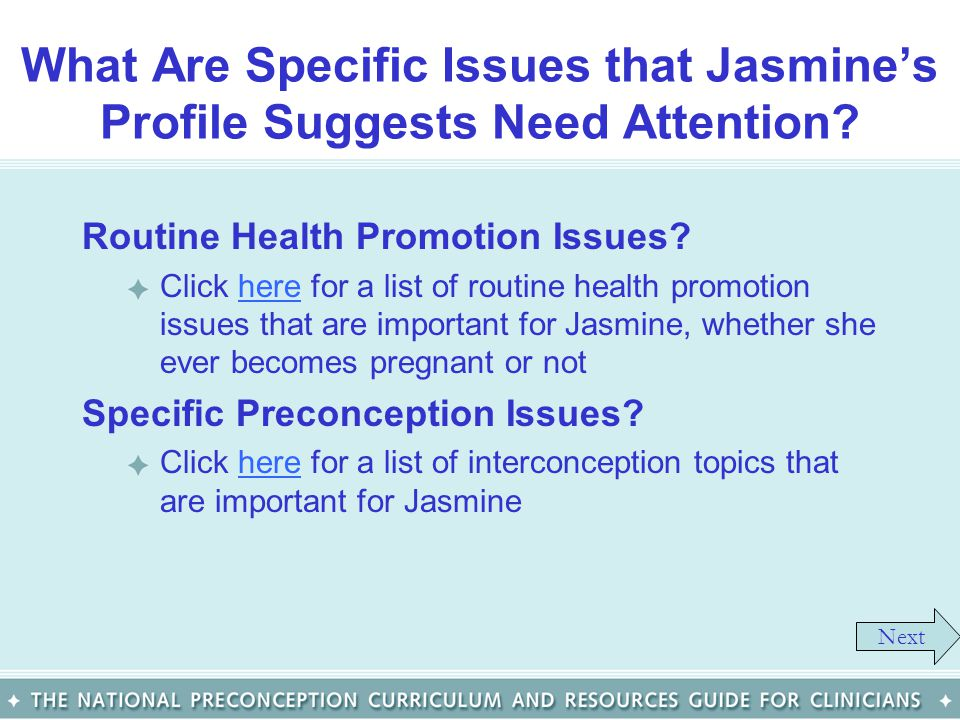What Are Specific Issues that Jasmine's Profile Suggests Need Attention