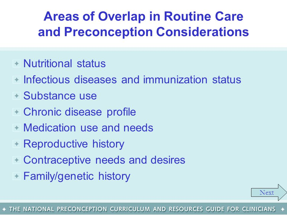 Areas of Overlap in Routine Care and Preconception Considerations