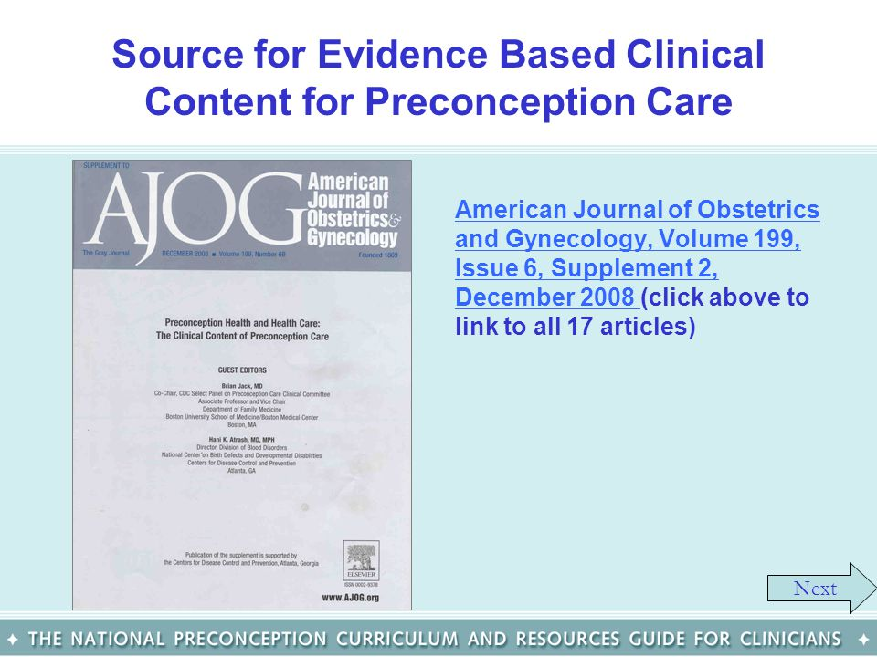 Source for Evidence Based Clinical Content for Preconception Care