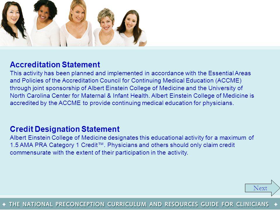 Credit Designation Statement