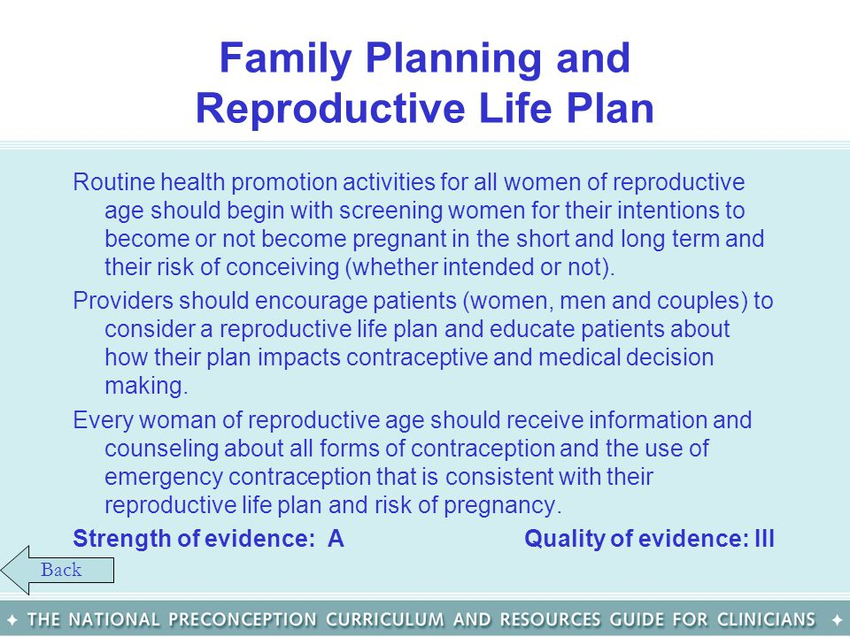 Family Planning and Reproductive Life Plan