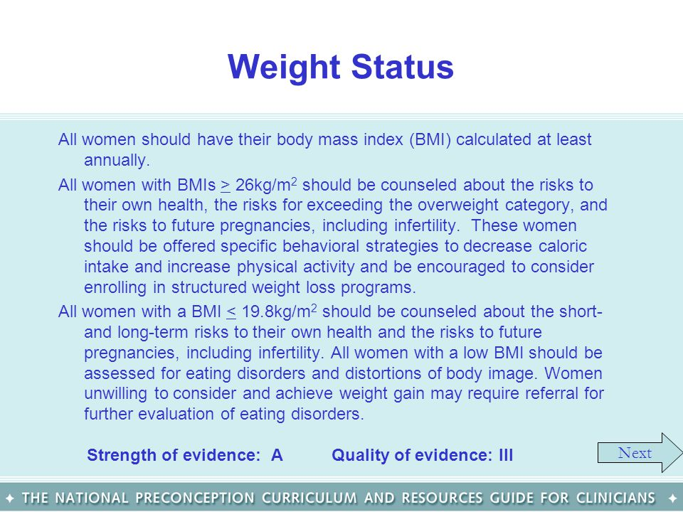 Weight Status All women should have their body mass index (BMI) calculated at least annually.