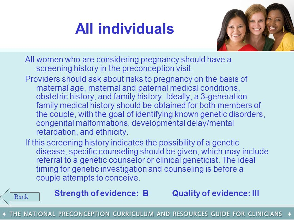 All individuals All women who are considering pregnancy should have a screening history in the preconception visit.