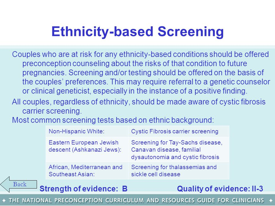 Ethnicity-based Screening