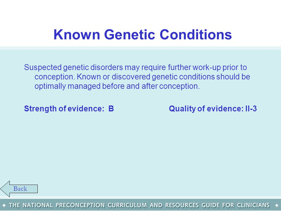 Known Genetic Conditions